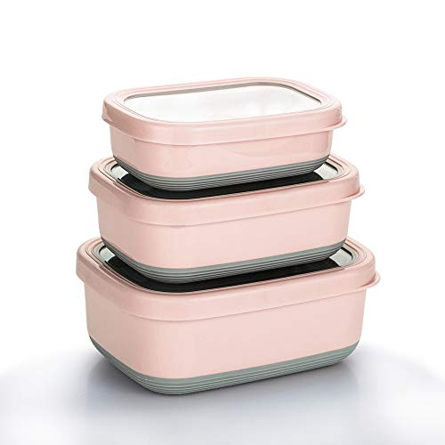 Lille Home Premium Stainless Steel Food Containers/Bento Lunch Box With Anti-Slip Exterior, Set of 3, 470ML, 900ML,1.4L, Leakproof, BPA Free, Portion Control, Pink