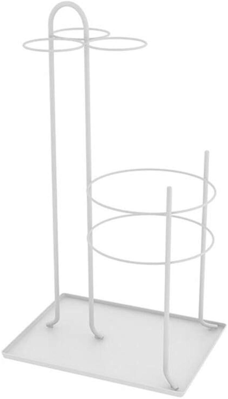 ZH1 Umbrella Stands Umbrella Stand,Wrought Iron Umbrella Bucket,Floor Standing Storage Shelf for Canes Walking Sticks Parasols, 33x25x60cm (color   White)