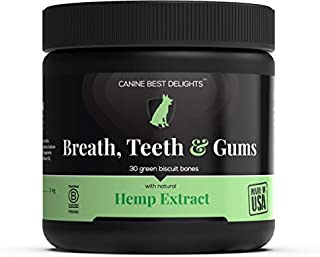 Canine Best Delights - Fresh Breath Dog Treats with 300mg Organic Hemp Extract - Benefits Breath Teeth & Gums - Whitening and Protective - All Natural