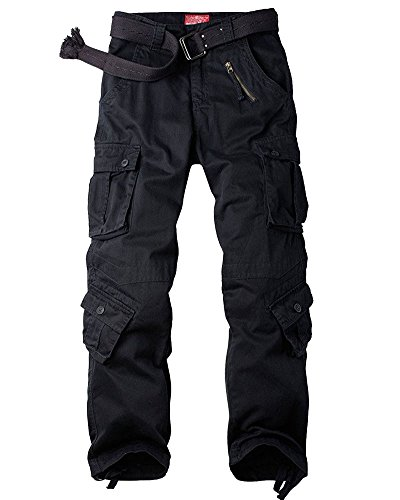Jessie Kidden Men's Combat Camo Cargo Trousers Camouflage Army Military Tactical Work Pants #7533 Black-32