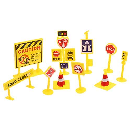 YARNOW Segnaletica Stradale Playset Segnali Stradali in Plastica per Bambini Gioca Inglese Segnaletica Stradale Giocattolo Fai da Te Miniatura Scena Accessorio 5 Set  50 Pezzi