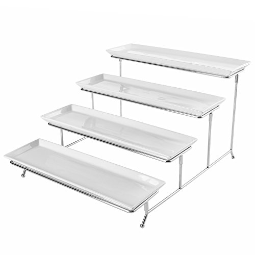 4 Tier White Ceramic Party Serving Platter/Food Display Trays on Chrome Plated Metal Stand