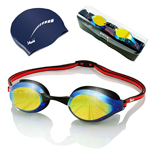 ARiety Profi Schwimmbrille mit Badekappe im Triathlon Set - Wettkampf Schwimmerbrille zum Training oder Freizeit - Anti-Fog - 100% UV-Schutz - verspiegelte Gläser