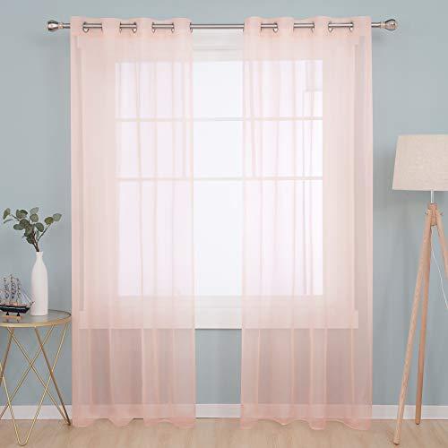 Deconovo Visillos Blancos Cortina Translucida Salón Infantiles para Ventanas Dormitorio para Habitacion 140 x 245 cm Rosa