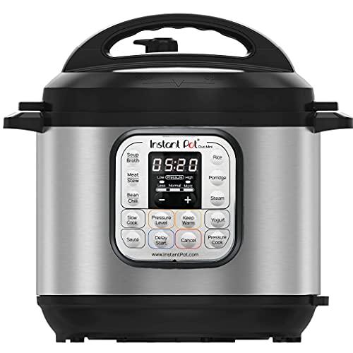 Instant Pot Elektrischer Schnellkochtopf Duo Mini 3L. 7-in-1 Multikocher, Schnellkochtopf in Edelstahl-700W