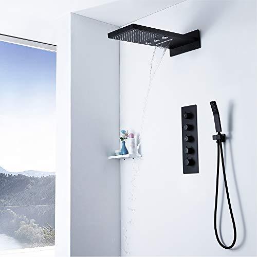 Ducha de lluvia con cabezal de ducha de cascada, gran flujo de agua de latón, 4 funciones, juego de ducha de cascada.