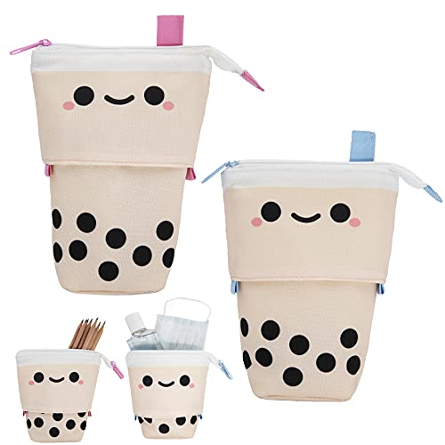 2 pcs Boba Bubble Tea Cute Pencil Case for Kids. Kawaii Stationary, Cute Stationary: Pencil pouch, pen pouch, pencil bag, pen case. Cute School Supplies or Face Mask Holder