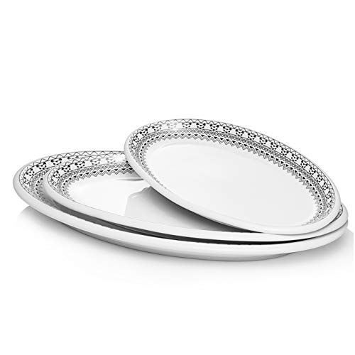 DOWAN Large Serving Platters, 16/14/12 Inches Oval Serving Plates Dinner Plates Serving Dishes, Ideal for Parties, Restaurant, Dessert Shop, Set of 3, Modern Bohemian Style White