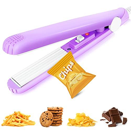 Mini Bag Sealer,Portable Food Bag Sealer,Handheld Heat Sealer for Food Storage,Cool Kitchen Gadgets Reseal for Plastic Chip Bag,Candy Bag,Pet Food Bag,Snacks (Purple)