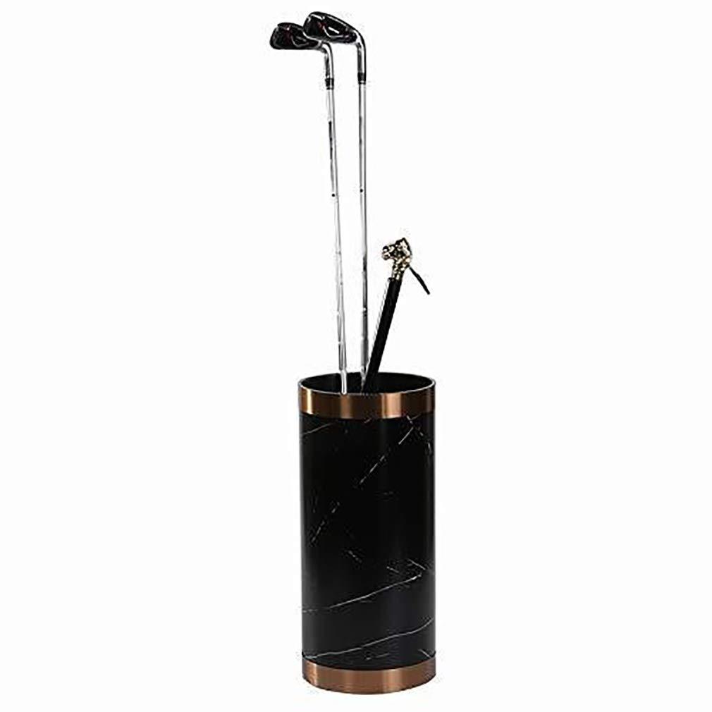 DHR傘はラックスタンド 玄関現代ラウンドスタイル傘ホルダー屋内ホームオフィスストレージオーガナイザーラック用PVCマーブリング傘立て ホルダースタンド (色 : 黒)