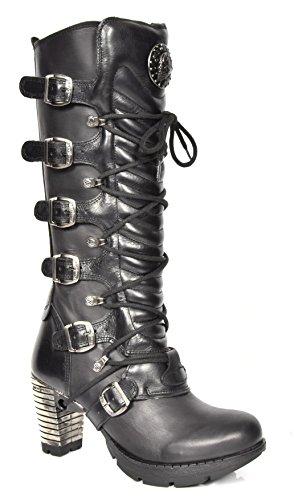 New Rock Damen Schnürsenkel Gothic Stiefel Schwarz Leder Runder Zeh Knielänge Schuhe (EU 40)