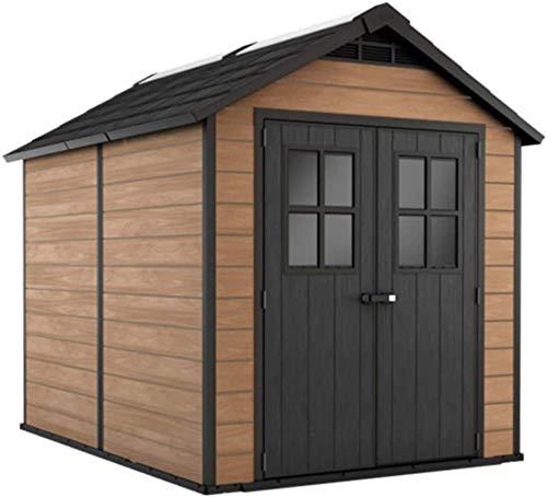 Se aplica a todos los gabinetes de almacenamiento de jardín al aire libre rústico cobertizo de metal gris derramada plástico resistente,Brown
