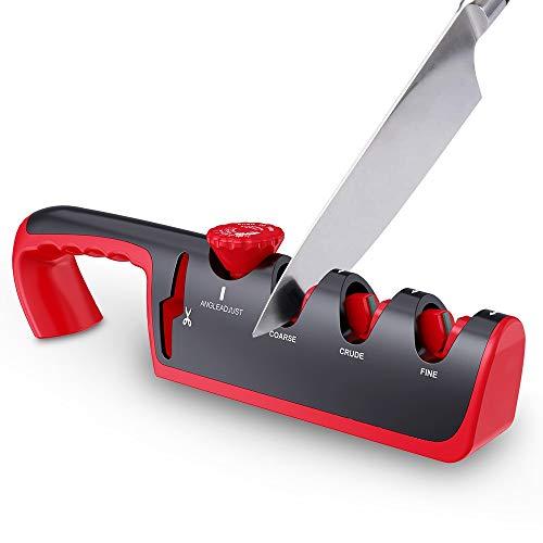 YiXing Afilador de cuchillos profesional de 4 etapas de cocina afiladora de piedra afiladora de tungsteno diamante herramienta afiladora de cerámica (color: rojo)