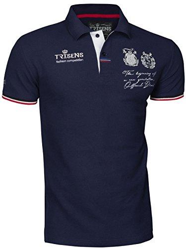 Trisens Poloshirt Sommer Herren Party T-Shirt Print Hemd Cotton POLOHEMD, Farbe:Dunkelblau, Größe:S