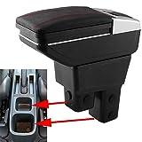 SZSS-CAR Leather Car Center Console Armrest Box for Honda Fit Jazz Hatchback 2009 2010 2011 2012 2012 2013 Armrests Storage Box (Black)
