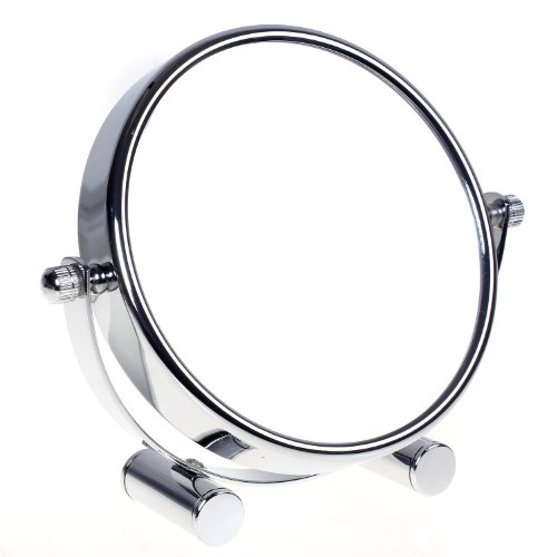 HIMRY Miroir de Maquillage/Miroir cosmétique, pivotant à 360° - Double Face: Normal et grossissement x10.Miroir sur Pied, Miroir Rasage, Miroir Salle de Bain, chromé, KXD3104 - x10