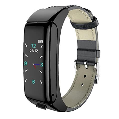 Pulsera de auricular inteligente 2in1 pulsera de salud de frecuencia cardíaca con audífonos inalámbricos Correa de cuero negro