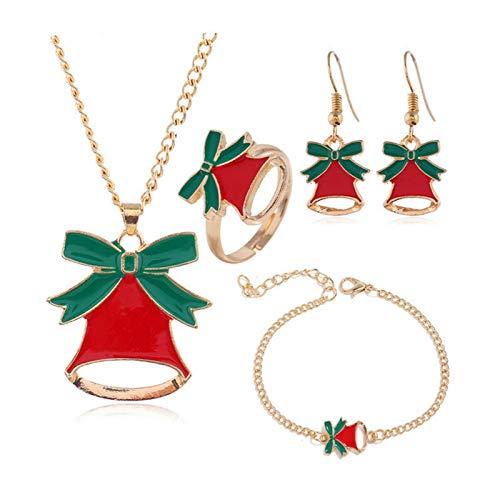 DSJTCH Europa y los Estados Unidos Fashion Simple Christmas Bell Artículo Pendientes de Cadena Anillo Joyería Juego Combinación (Color : One Size)