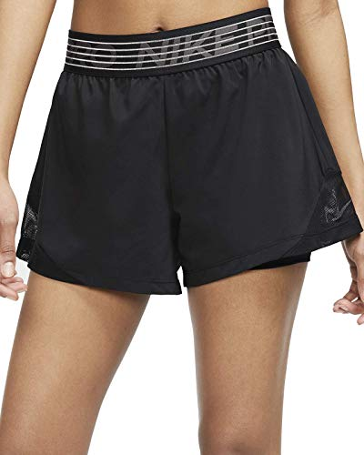 Nike Damen W NK FLX 2IN1 Short WVN ESSNT Sport, Black/Black/(Thunder Grey), S