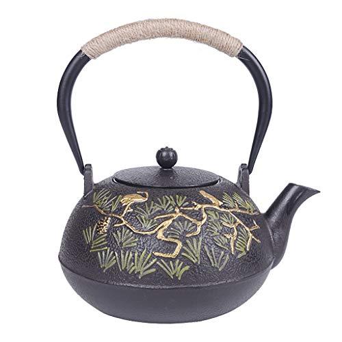 M-CH theepot van gietijzer met uitneembare theezeef in Japanse stijl teetsubine 1,2 l | theepot van gietijzer voor het warm houden van de thee, model van grenen en kranich waterkoker van ijzer