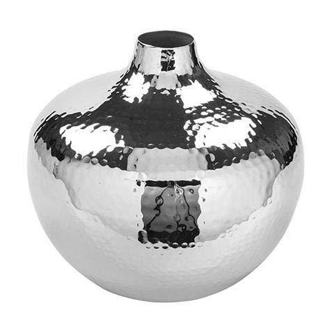 Fink 157063 Vase - Blumenvase - Pallas - vernickelt - gehämmert - Ø 20 cm - Höhe 19 cm