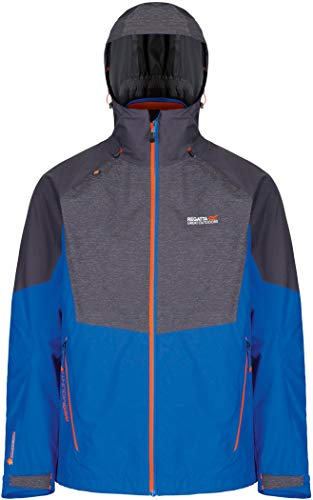 Regatta Sacramento IV 3 in 1 Waterproof and Breathable with Zip-Out Fleece Veste Homme, Oxford Blue/Seal Grey, 2 XL