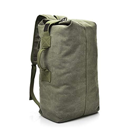 YCRCTC Large Capacity Rucksack Man Travel Bag Mountaineering Backpack Male Luggage Canvas Bucket Shoulder Bags Men Backpacks (Color : Old style Green, Size : Big 30x55x20cm)