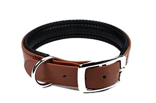 LENNIE BioThane Halsband, gepolstert, Dornschnalle, 19 mm breit, Größe 30-36 cm, Hellbraun, Aufdruck möglich