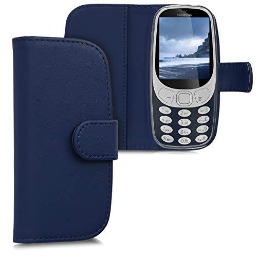 kwmobile Nokia 3310 3G 2017 / 4G 2018 Hülle - Kunstleder Wallet Case für Nokia 3310 3G 2017 / 4G 2018 mit Kartenfächern & Stand - Dunkelblau