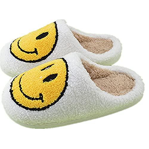 Women s Men s Smiley Face Plush Fluffy Slippers Memory Foam, Comfy Smiley Face Cozy Plush Warm Slide on House Slipper for Winter (37-38,White-B)