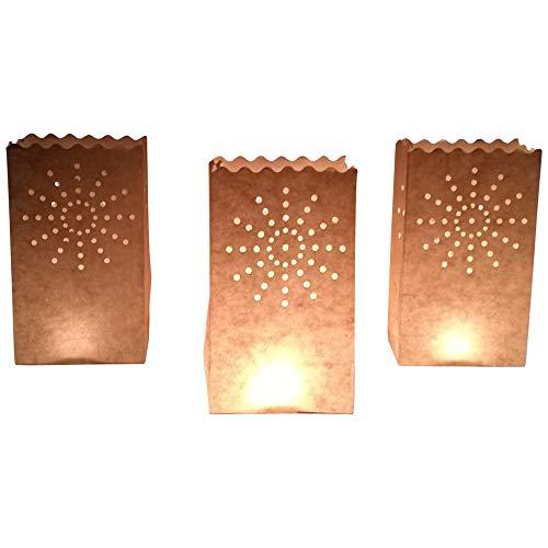 10 Stück Papier Lichttüten Lichtertüten Sonne für Teelichter Kerzen Laternen weiß Kerzenhalter Deko Tischdeko Teelichthalter Tüte Party Windlicht