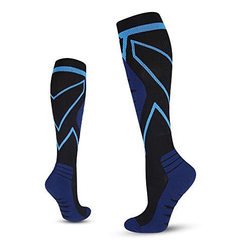 Tempusort Mens Compression Socks 20-30 mmHg Knee High Unisex Adults Athletic Socks for Sports Running Cycling Flight Travel Blue Size L/XL