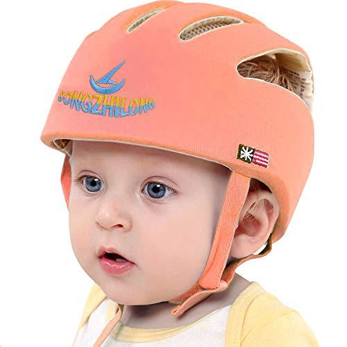 IULONEE Casco de protección para bebé, gorra protectora para cabeza de bebé, gorra de algodón ajustable(Naranja)