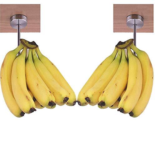 Banana Hanger,Banana Holder,Banana Stand,Grape Hanger–Under Cabinet Hook-for Bananas or Other Lightweight Kitchen Items.This hanger could suspend a Ten pound bag of potatoes easily, Chrome Finish,2/PK
