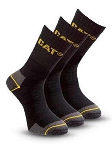 (6 Pairs) 2 x Pack of 3 Caterpillar Work Socks Cotton Mens in Black Size UK 6-11 by Caterpillar