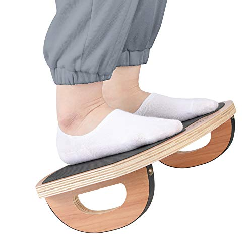 P&BEXC Foot Rest Under Desk,Wooden Nursing Footrest Stool, Rocker Balance Board, Natural Wood, Support Your Legs Ergonomically,Relieve Leg Pressure.Portable Footrest Stool for Home and Office