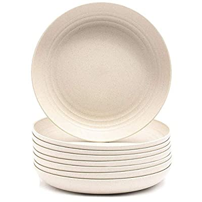 [Pack of 8] 2020 New Wheat Straw Fiber Plates Set Dinner Plates Unbreakable Environment Friendly Plates Microwave Save Dish Washer Safe For Salad Pasta Safe for Toddler