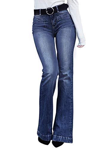 Minetom Femmes Taille Haute Denim Jean Flare Déchiré Pantalons Évasé Jambe Large Casual Stretch Slim Fit Push Up Jeans Pants D Bleu L