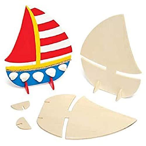 Baker Ross AG682 Stehende Holzboote (6 Stück), perfekt für Kinder zum Dekorieren und Personalisieren, ideal für Schule, Heimwerk und Bastelgruppen, Holz
