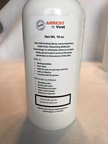 Arrest My Vest Military and Police Grade Odor Eliminating Spray for Body Armor, Tactical Gear. Safe on K9's, Ballistic Vests and All Fabrics Including Leather - Unscented - 2 16 oz Bottles