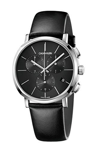 Calvin Klein Herren Chronograph Quarz Uhr mit Leder Armband K8Q371C1