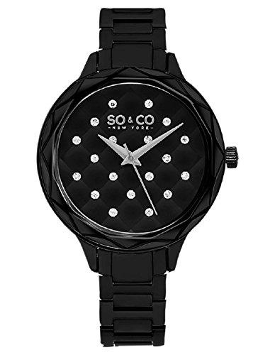 SO & CO New York 5255.2 - Reloj de Pulsera Mujer, Acero Inoxidable, Color Negro