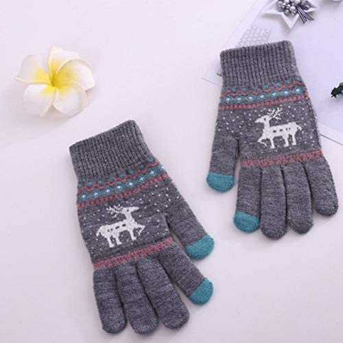 Fashion Women Winter Gloves Wool Warm Full Finger Touch Screen Gloves 2018 - (Color: Gray)