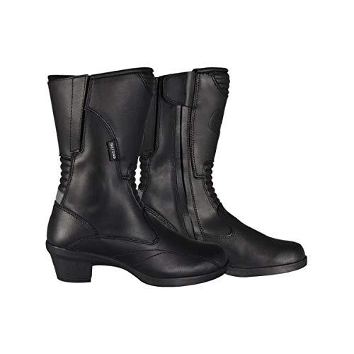 Botas de cuero con tacón Valkyrie para mujer de Oxford, resistentes al agua, color negro, para motocicleta, talla 36 (EU)