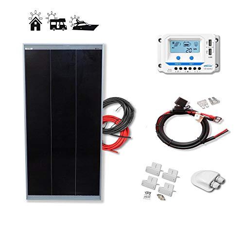 Kit 100W ECO 12V panel solar placa monocristalina Tecnología Shingled cells de alta eficiencia para caravanas autocaravanas