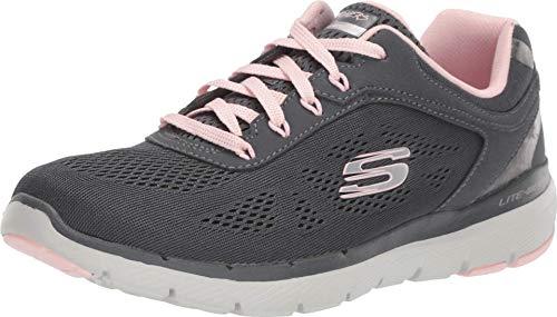 Skechers Damen Flex Appeal 3.0 - Moving Fast Sneaker, Grau (Charcoal Mesh/Duraleather/Pink Trim Ccpk), 41 EU