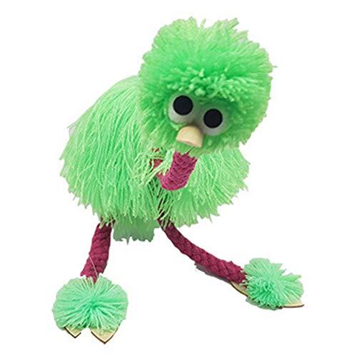 XKMY Marionetas de mano para mascotas, 2 unidades, regalos para niños, juguetes educativos, tradicionales, para manualidades, cuerda de control de muñeca de animales de avestruz (color: verde)