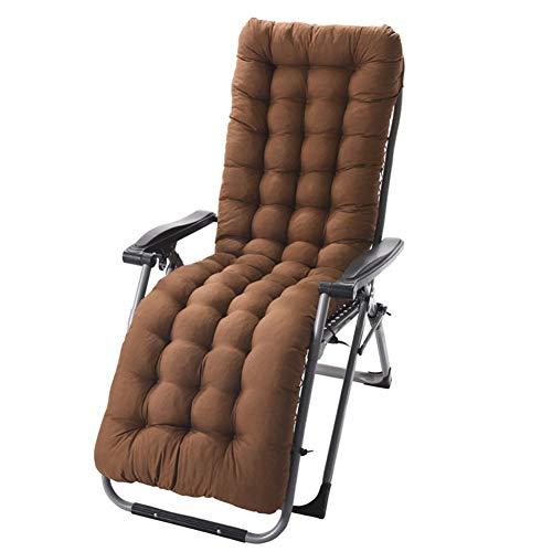 Cojín para tumbona reclinable de jardín, acolchado, cojín de respaldo alto, cojín grueso y suave para silla/sofá 155*48*8cm marrón (No incluye sillas)