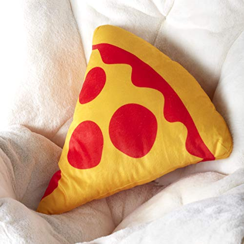 The Lakeside Collection Novelty Accent Pizza Slice Shape Pillow for Kid's Bedroom and Game Rooms