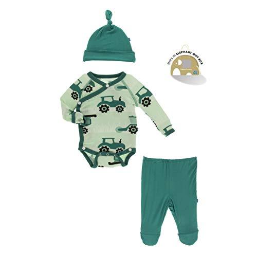 KicKee Pants Kimono Newborn Gift Set with Elephant Box (Pistachio Tractors and Wheat - 3-6 Months)